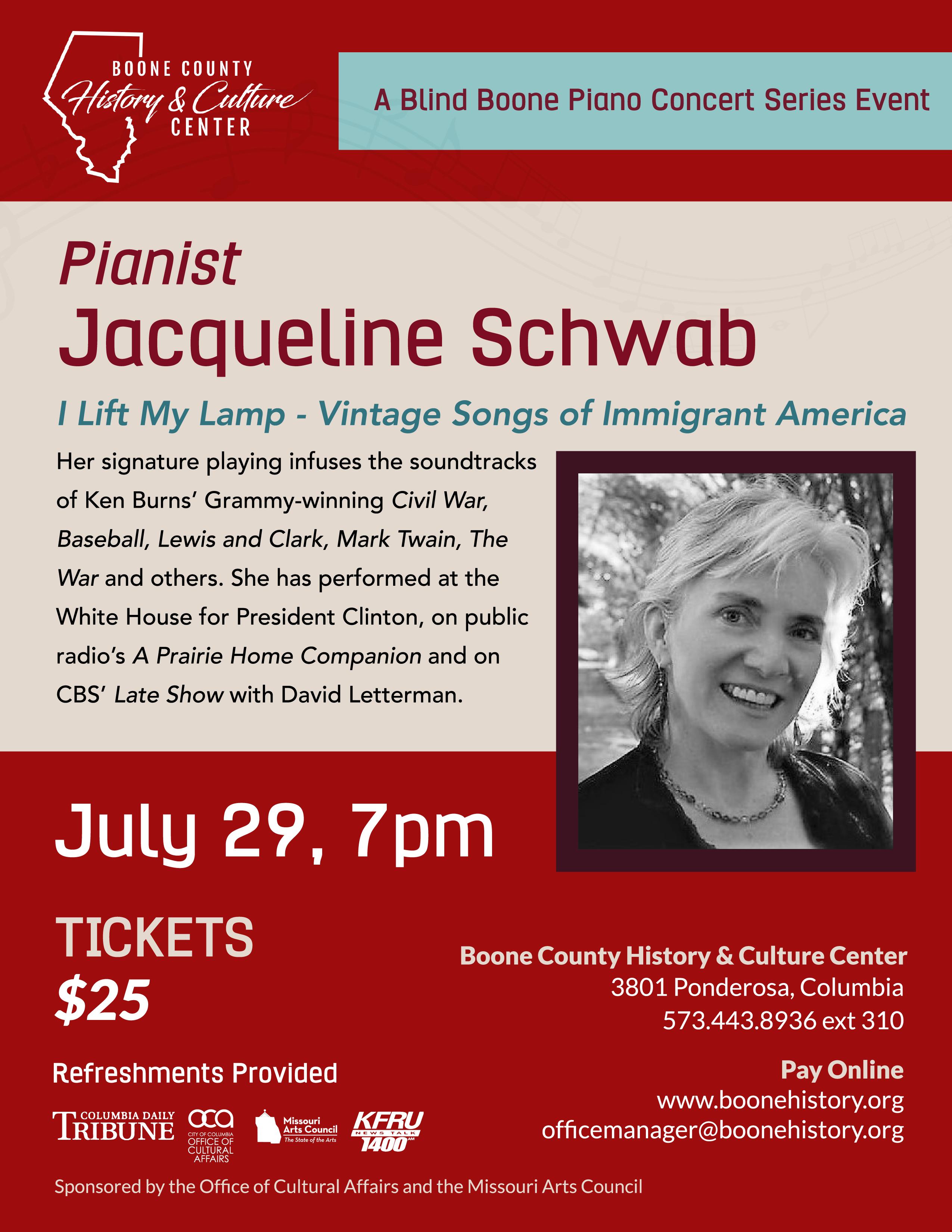 Pianist Jacqueline Schwab – I Lift My Lamp – Vintage Songs of Immigrant America