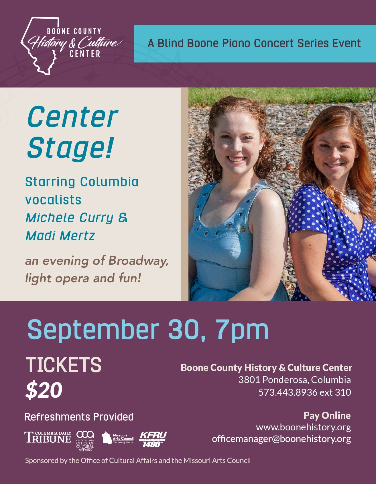 Center Stage! – Starring Columbia Vocalists Michele Curry & Madi Mertz